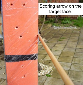 Scoring arrow on the target face.