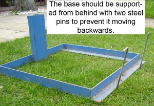 The base should be supported from behind with two steel pins to prevent it moving backwards.