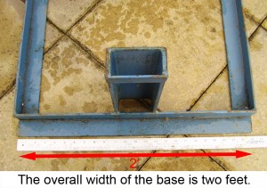 The overall width of the base is two feet.