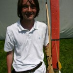 Alex with his competition winning arrow. The only arrow to hit from 50 yards.